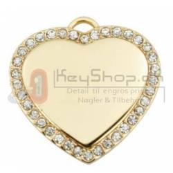 "Hjerte 32mm ""Diamante Guld"" INKL. FRAGT"