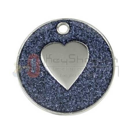Hjerte glitter Mørkeblå id tags